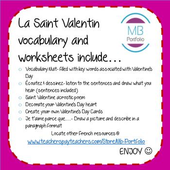 FRENCH- La Saint Valentin Worksheets & Vocab/ Valentine's Day