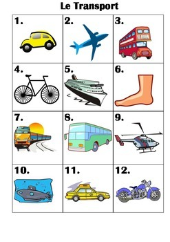 FRENCH -  Le Transport - pictures to practise speaking skills