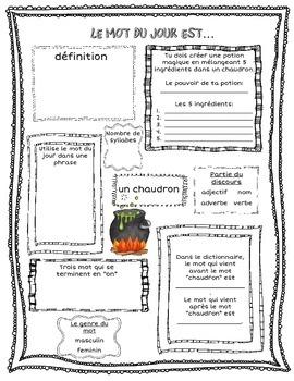FRENCH Le mot du jour - Octobre (Halloween & Thanksgiving Edition)