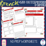 FRENCH:  Les Olympiques D'Hiver NO PREP Worksheets