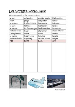 FRENCH - VOCABULARY PRACTICE - Les Voyages