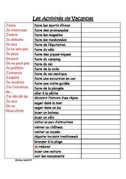 FRENCH - Les activités de vacances (Holiday activities)
