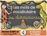 FRENCH VOCABULARY CARDS LES DINOSAURES - Mots de vocabulaire - script et cursif
