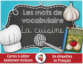 FRENCH VOCABULARY CARDS LA CUISINE - Mots de vocabulaire - script et cursif