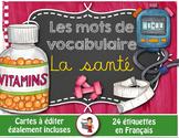 FRENCH VOCABULARY CARDS LA SANTÉ - Mots de vocabulaire - script et cursif