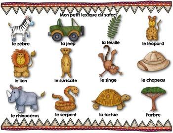 Mots de vocabulaire LE SAFARI/24 affiches