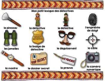 FRENCH VOCABULARY CARDS LES DÉTECTIVES - Mots de vocabulaire - script et cursif
