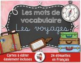 FRENCH VOCABULARY CARDS LES VOYAGES - Mots de vocabulaire - script et cursif
