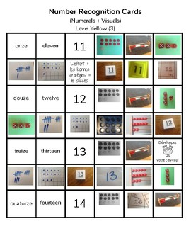 FRENCH Level 3 Number Recognition Cards (with visuals + growth mindset messages)