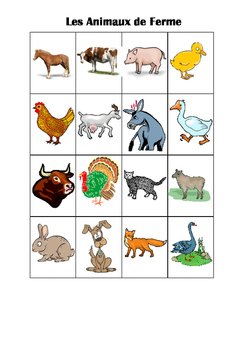 FRENCH - MATCHING GAME - Les Animaux de la Ferme