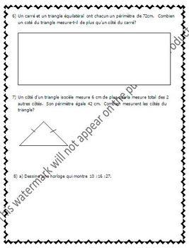 FRENCH Math Test - Measurement / Les mesures, l'aire, le périmètre - EDITABLE