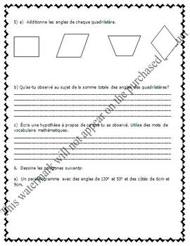 FRENCH Math Test - Measurement & Geometry (angles, polygones) - EDITABLE