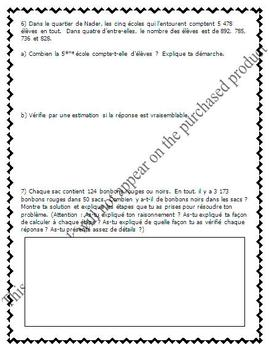 FRENCH Math Test - Addition, Subtraction & Word Problems - EDITABLE