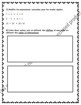 FRENCH Math Test - Patterning / Les suites et les variables - EDITABLE