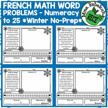 FRENCH Math Word Problems Winter Theme by TEACHERSAVERS | TpT