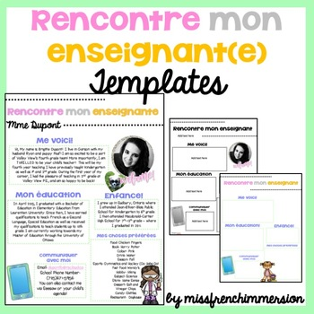 FRENCH Meet The Teacher - EDITABLE