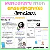 FRENCH Meet The Teacher - EDITABLE