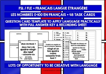 FRENCH NUMBERS 0-100 TASK CARDS WITH RECORDING SHEET & ANSWER KEY