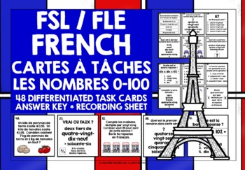 FRENCH NUMBERS 0-100 TASK CARDS