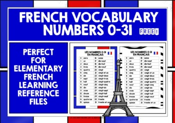 FRENCH NUMBERS 0-31 REFERENCE SHEET