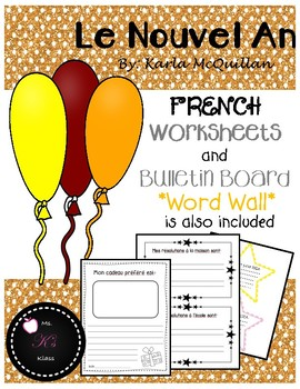 FRENCH New Years Worksheets and Bulletin Board : Le nouvel an