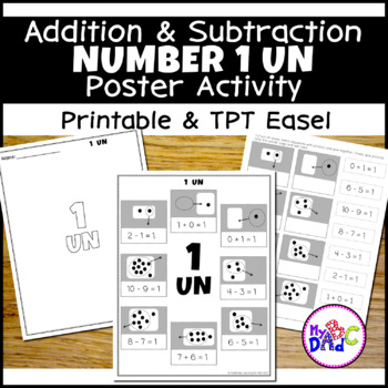 Addition and Subtraction Number 1 Poster Worksheets in French