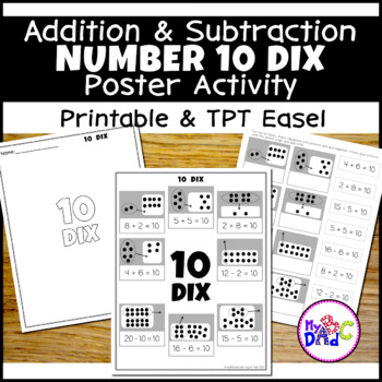 FRENCH Number 10 Add and Subtract Math Poster Activity
