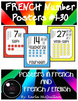 FRENCH Number Posters : Affiches des nombres 1-30