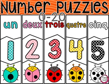 FRENCH Number Puzzles 0-20 BUNDLE