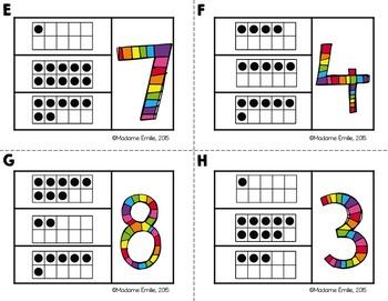 FRENCH {Numbers 0-10 cards}/ Cartes à clip {Nombres 0 à 10}