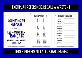 FRENCH NUMBERS 0-31 - GAME CARDS & RECALL WORKBOOK