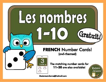 FRENCH Number posters/ Affiches de nombres (Numbers 1-10) Owl-themed