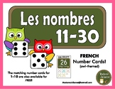 FRENCH Number posters/ Affiches de nombres (Numbers 11-30) Owl-themed