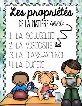 FRENCH PROPERTIES OF MATTER UNIT - GRADE 5 SCIENCE (PROPRIÉTÉS DE LA MATIÈRE)