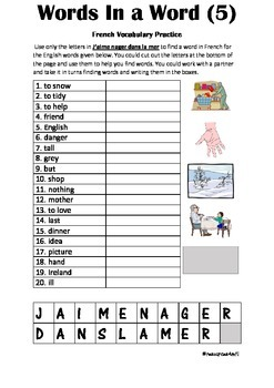 FRENCH - PUZZLE - Words in a Word (5)