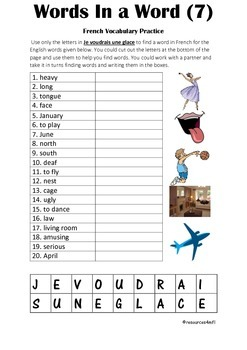 FRENCH - PUZZLE - Words in a Word (7)