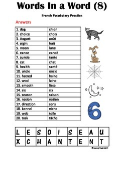 FRENCH - PUZZLE - Words in a Word (8)