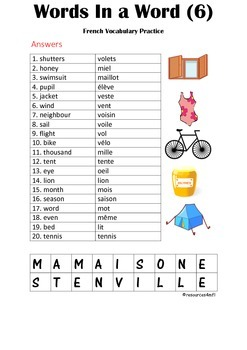 FRENCH - PUZZLE - Words in a word (6)