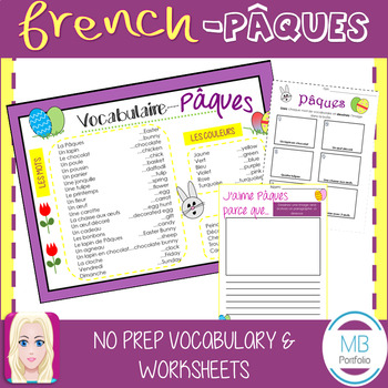 FRENCH: Pâques Vocabulary and NO PREP Worksheets (Easter)