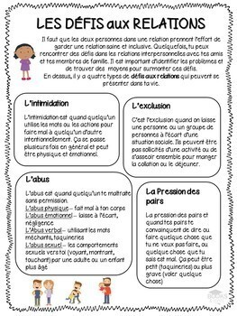 FRENCH - Part 2 of 3: Grade 3: Human Development & Sexual Health