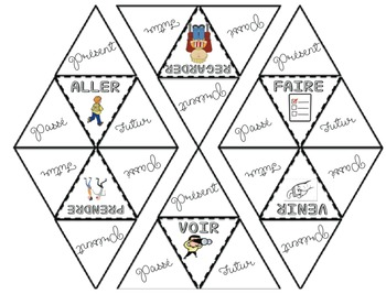 FRENCH Past, Present, Future Verb Triangles Study Tool for INTERACTIVE NOTEBOOK