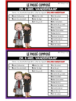 """FRENCH: Past Tense Verb Conjugation with """"Etre"""" - Mini Student Visual"""
