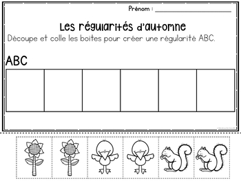 FRENCH Patterning Through the Year Worksheets (les régularités en maternelle)