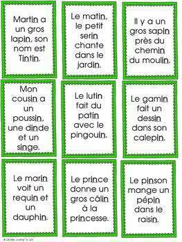 FRENCH Phonics Reading Game/Jeu- Phrases avec boîtes de sons
