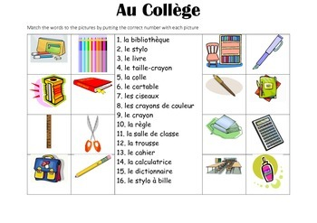 FRENCH - Picture Match - Au Collège (at school)