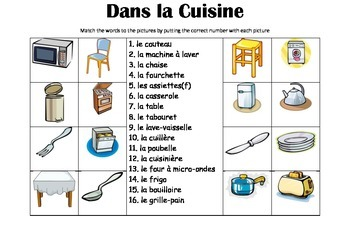 FRENCH - Picture Match - Dans la Cuisine (In the kitchen)