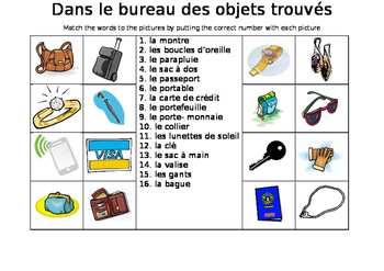 FRENCH - Picture Match - Dans le bureau des objets trouvés (lost property)