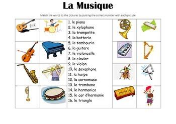FRENCH - Picture Match - La Musique(music)
