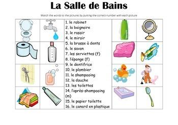FRENCH - Picture Match -  La Salle de Bains (bathroom)