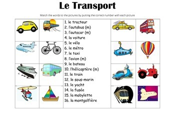 FRENCH - Picture Match- Le Transport (transport)